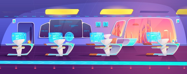 Futuristic classroom on space ship
