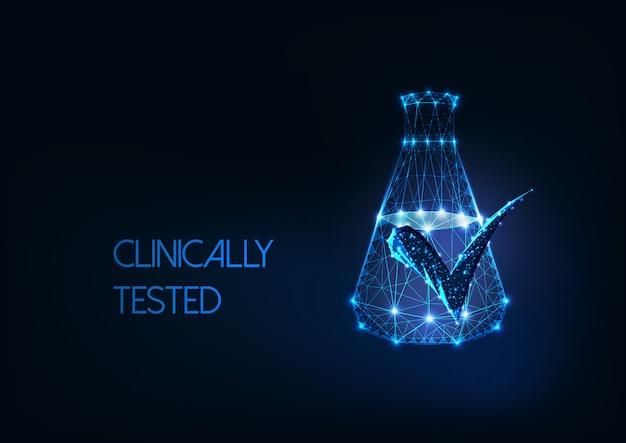 Futuristic clinically tested concept with glow low poly laboratory flask and approved mark