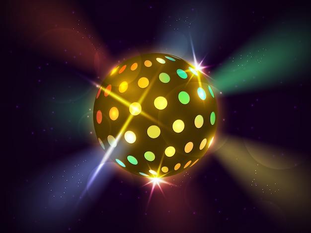 공간에서 미래의 색상 밝은 공. 디스코 볼. 댄스 음악.