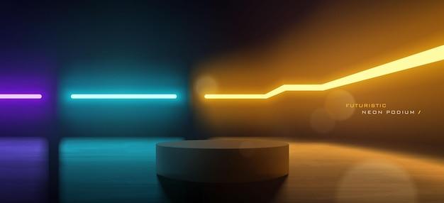 Futuristic colorful neon podium scene