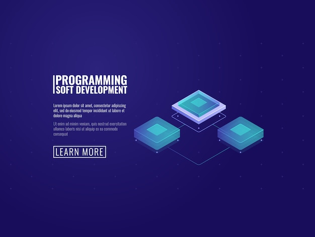 Futuristic computer microchip, server room and data transfer concept
