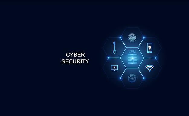 Футуристическая концепция киберугрозы в виде иконок
