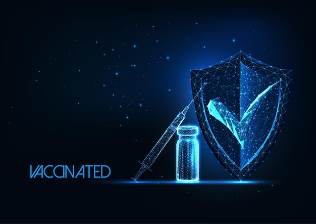 Futuristic coronavirus covid vaccine immunization concept with syringe and protection shield