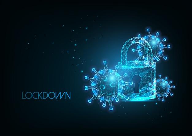 Futuristic coronavirus, pandemic lockdown with glow ow poly virus cells and padlock