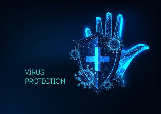Futuristic coronavirus protection concept with glowing low polygonal human hand, shield and viruses