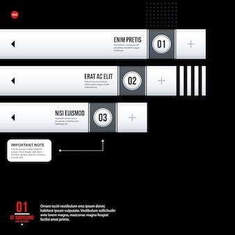 Футуристический шаблон корпоративной диаграммы на черном фоне. полезно для презентаций и маркетинговых сми.