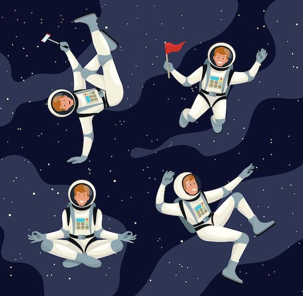 宇宙服の歩行と飛行の未来の宇宙飛行士。