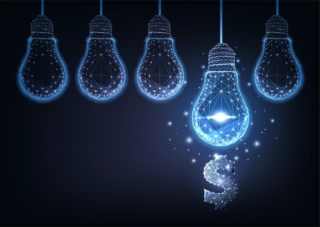Futuristic creative financial business ideas concept with glowing low polygonal hanging lightbulbs and dollar symbol