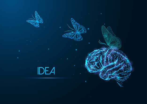 Futuristic creative idea concept with glowing polygonal human brain and flying butterflies
