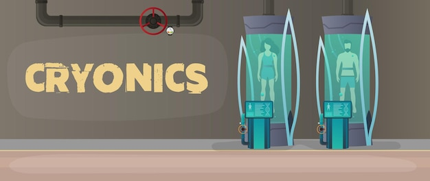 Futuristic cryogenic banner with capsules or containers.