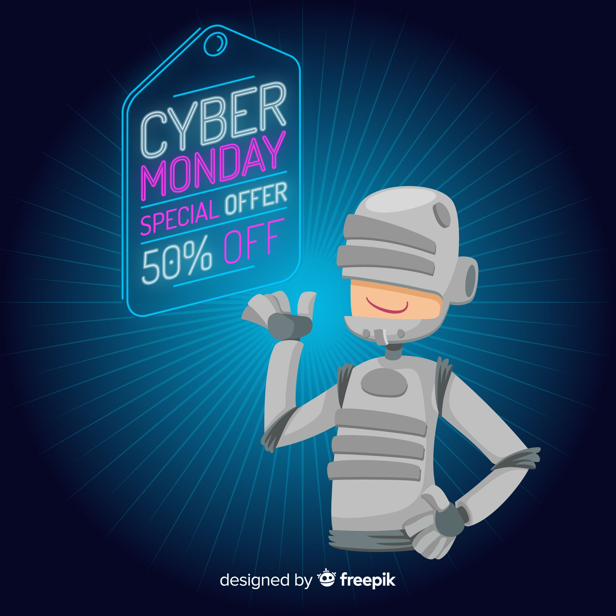 Futuristic cyber monday sale background with cute character