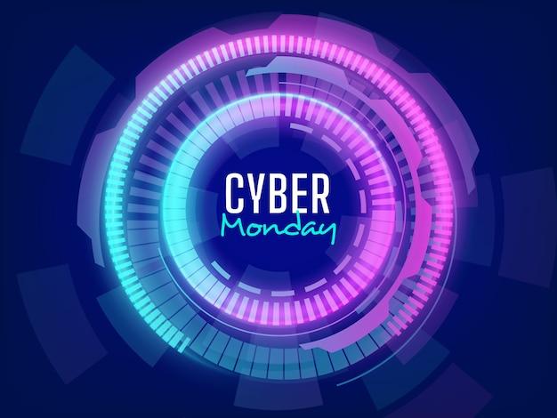 Sfondo di vendita futuristico cyber lunedì con effetti di luci