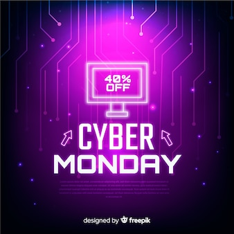 Futuristic cyber monday sale background with neon effects