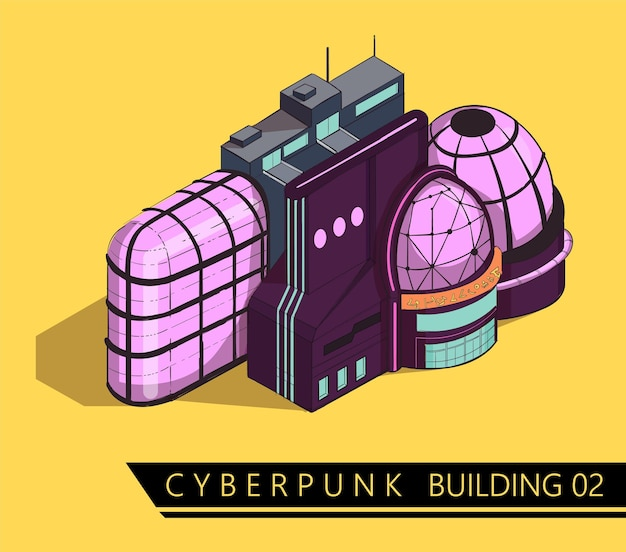 Futuristic cyberpunk sci-fi building in isometric style