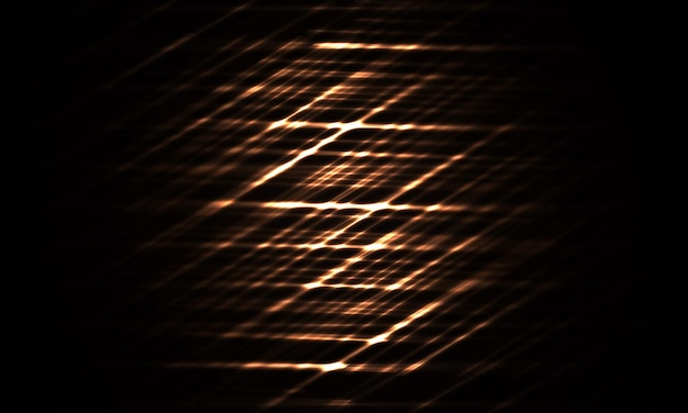 Футуристический темный абстрактный фон с желтой неоновой лазерной сеткой и светящимися линиями