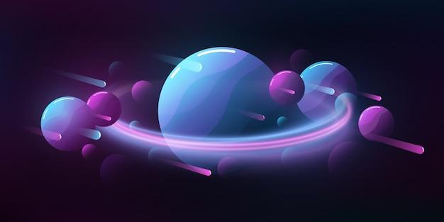 미래의 깊은 공간 만화 배경입니다. 비행 운석과 행성.