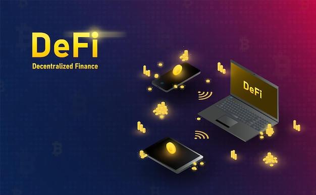 미래형 defi blockchain 홀로그램 노트북 스마트폰 및 태블릿 연결 미래 개념