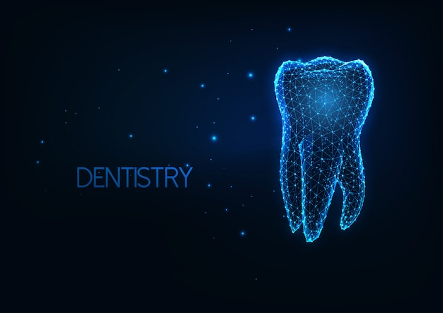 Futuristic dentistry, teeth care concept with glowing low polygonal human molar tooth.
