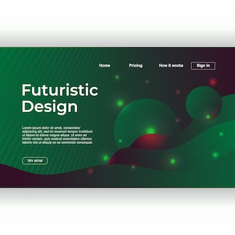 Futuristic design of landing page with geometric abstract