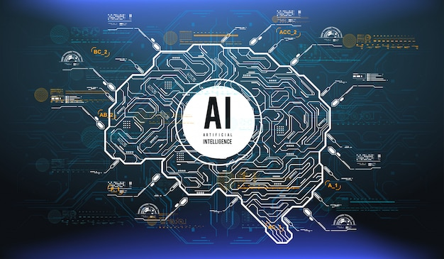 Футуристический дизайн мозга искусственного интеллекта с футуристическими элементами hud.