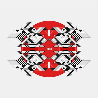 Futuristic design on red circle