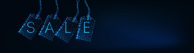 Futuristic design sale web banner with glowing low polygonal label tags, text on dark blue