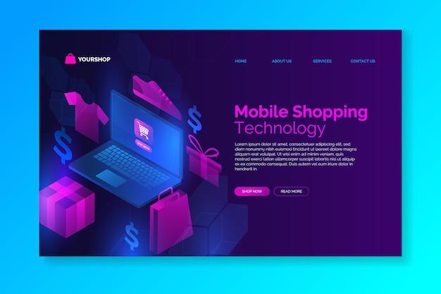 未来的なデザインのショッピングオンラインサイト