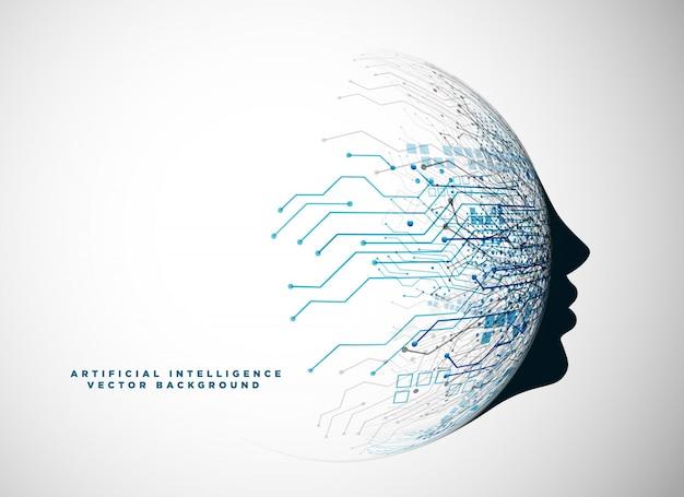 Футуристическое цифровое лицо для фона искусственного интеллекта