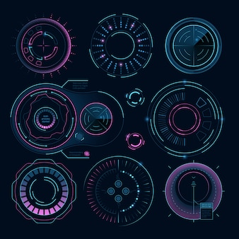Futuristic digital graphics, hud radial shapes for web interface