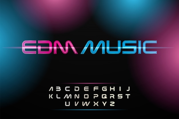 Futuristic digital music alphabet font