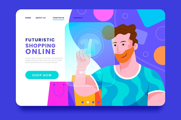 Futuristic digital shopping landing page