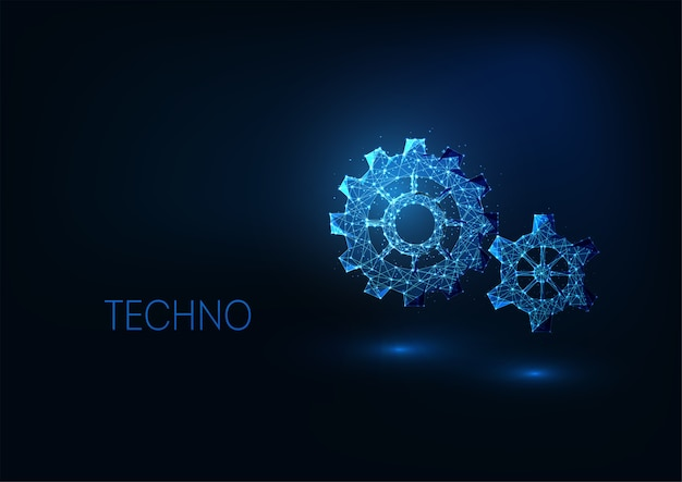 Futuristic digital technologies concept with glowing gears
