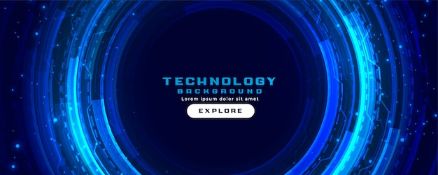 Futuristic digital technology concept banner background in blue colors