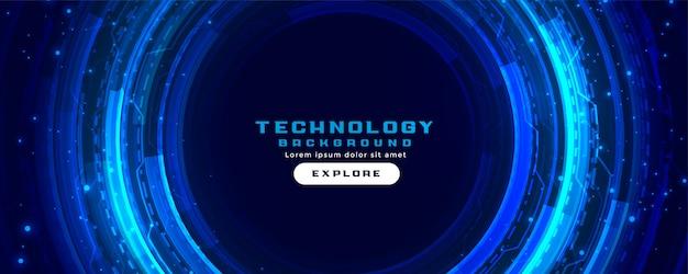 Fondo futuristico dell'insegna di concetto di tecnologia digitale nei colori blu