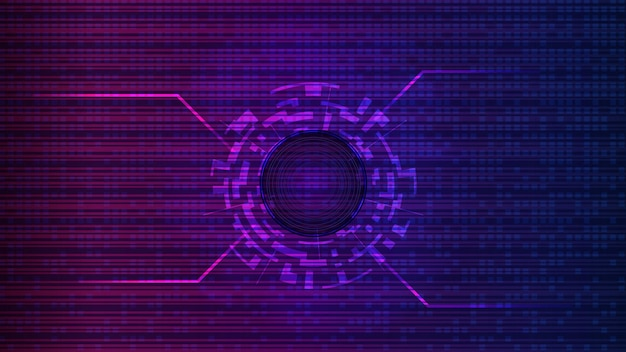 Futuristic digital technology template with copy spaces. digital circle in the center on an abstract purple background. design element. layout for a banner or website. eps10 vector.