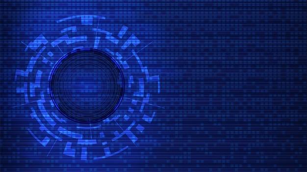 복사 공간이 있는 미래형 디지털 기술 템플릿입니다. 추상 파란색 배경에 디지털 원입니다. 디자인 요소입니다. 배너 또는 웹사이트의 레이아웃입니다. eps10 벡터입니다.