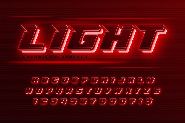 Futuristic dynamic alphabet, extra glowing, creative characters set.