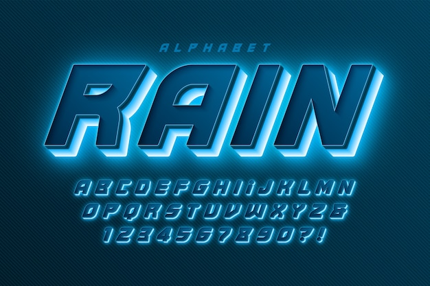 Futuristic dynamic alphabet, extra glowing font.