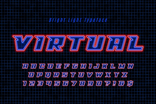 Футуристический динамический алфавит, дополнительный светящийся шрифт.