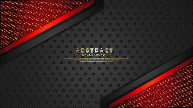 Futuristic and dynamic dark red and black overlap layers background with glitters effect. realistic halftone dots pattern on textured dark background