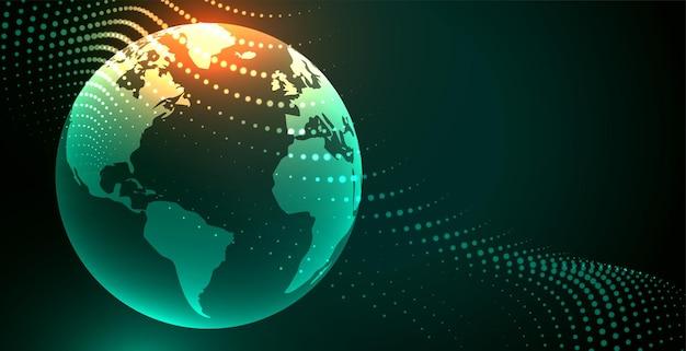 パーティクルエフェクトを使用した未来的な地球のデジタル背景