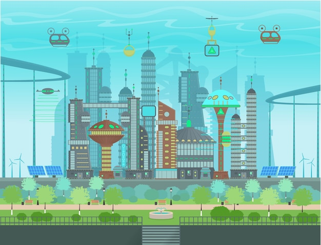 Футуристический эко-город в мультяшном стиле. панорама современного города с современными зданиями, футуристическим движением, парком с фонтаном, солнечными батареями, панелями ветряных мельниц. иллюстрация.