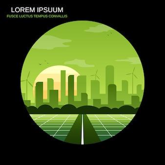 Futuristic eco city retro style vector illustration