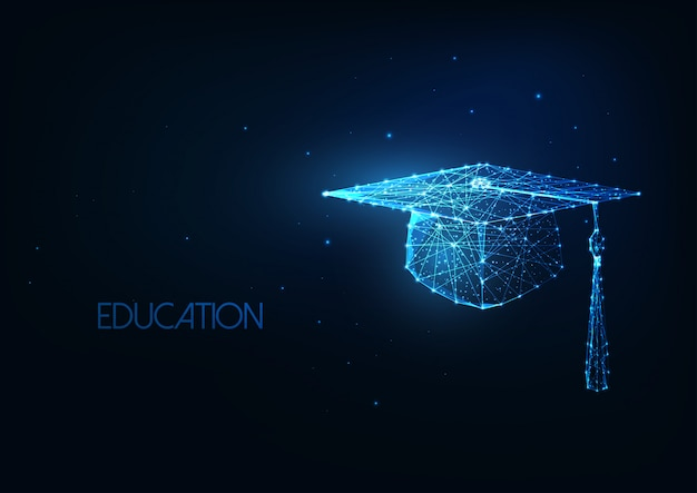 Futuristic education concept with glowing low polygonal graduation hat background.