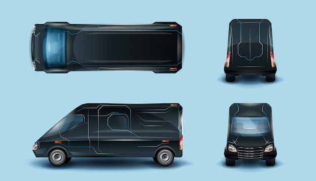 Futuristic electric cargo minibus in top, side
