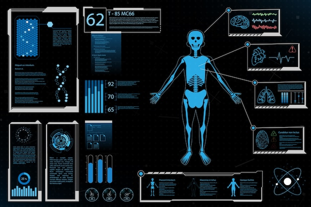 Futuristic elements human analysis health information