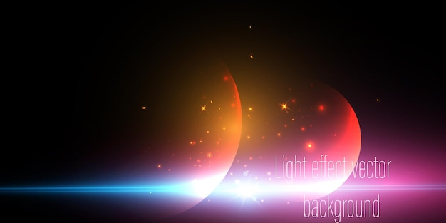 波、光線、レンズフレアの未来的な要素。