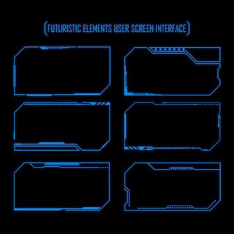Futuristic elements user screen interface set