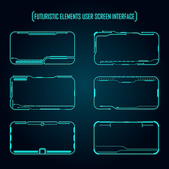 Futuristic elements user screen interface set