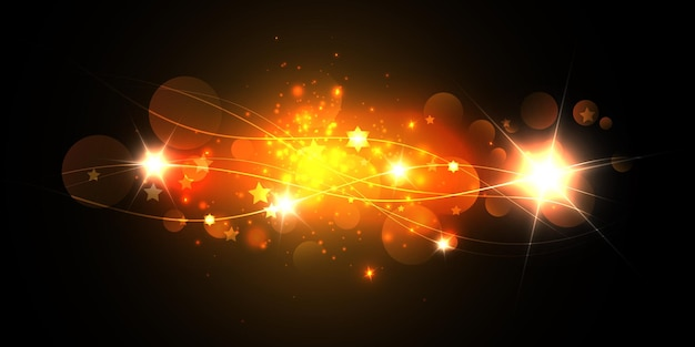 Futuristic   elements of waves, rays and lens flares.
